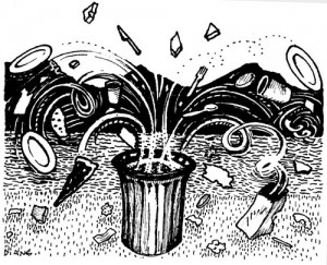 The Stranger in a Garbage Can, Illustration by Diane Wood